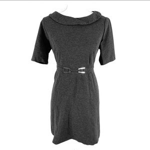 WHBM gray attached belt stretch dress